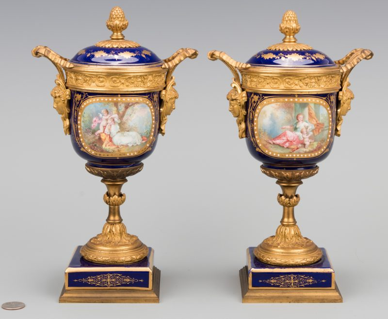 Lot 86: Pr. Sevres Gilt Mounted Porcelain Urns