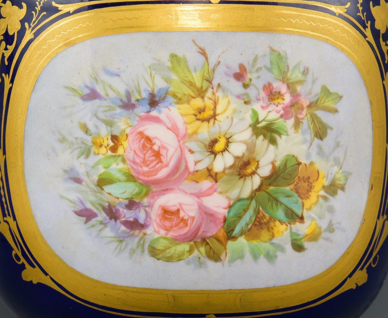 Lot 86: Pr. Sevres Gilt Mounted Porcelain Urns