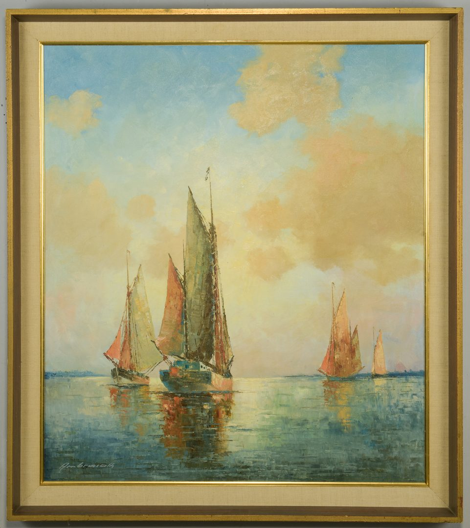 Lot 871: Franz Ambrasath, O/C, Dutch Fishing Boats