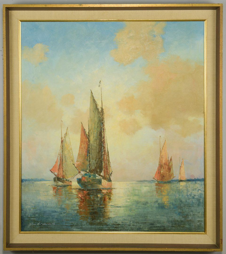 Lot 871: Franz Ambrasath, O/C, Dutch Fishing Boats