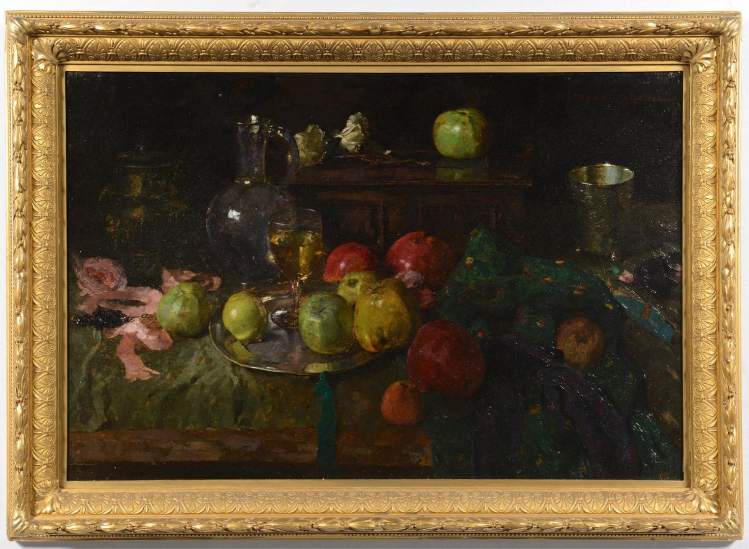 Lot 872: Rene Reinicke, Still Life with Wine and Apples