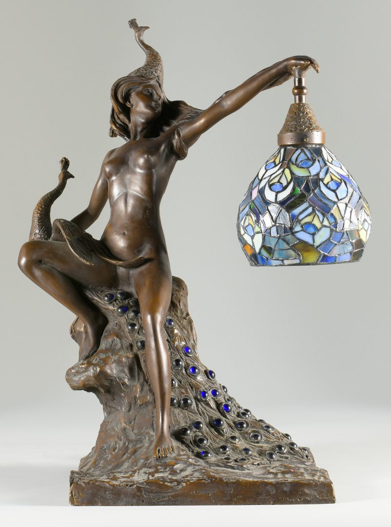 Lot 882: After Wolfers Bronze Nude Lamp