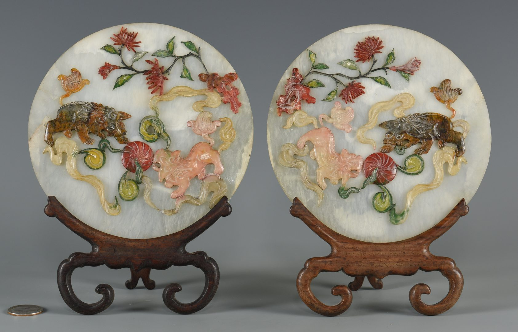 Lot 8: Pair Chinese Inlaid Jade Table Screens