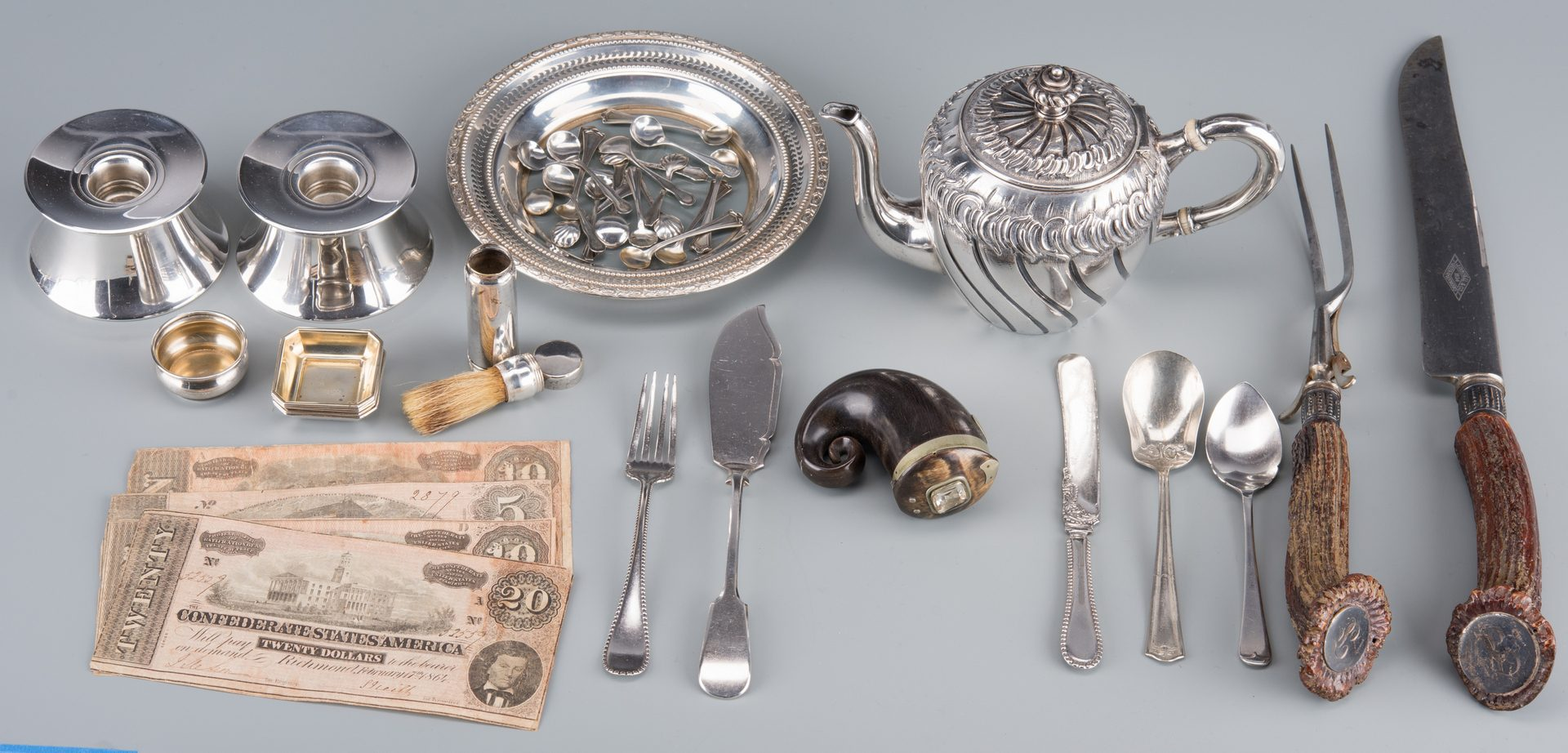 Lot 900: Group silver, horn and CSA currency