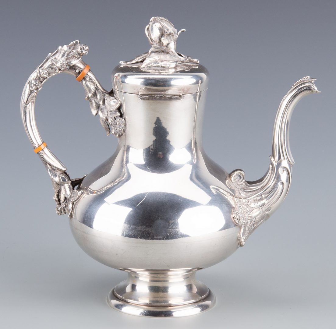 Lot 902: German 800 Silver Teapot w/ Roses