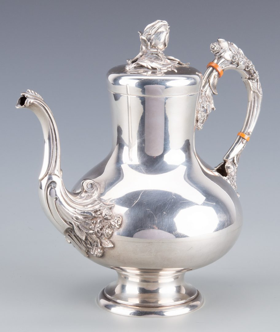 Lot 902: German 800 Silver Teapot w/ Roses