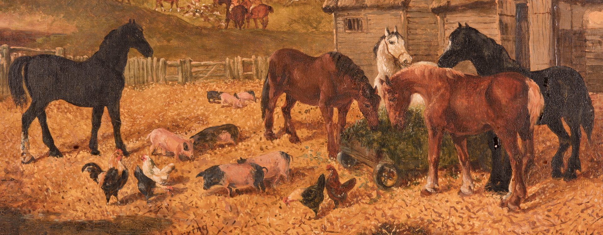 Lot 90: J.F. Herring Jr. o/c, Hunt and Barn Scene