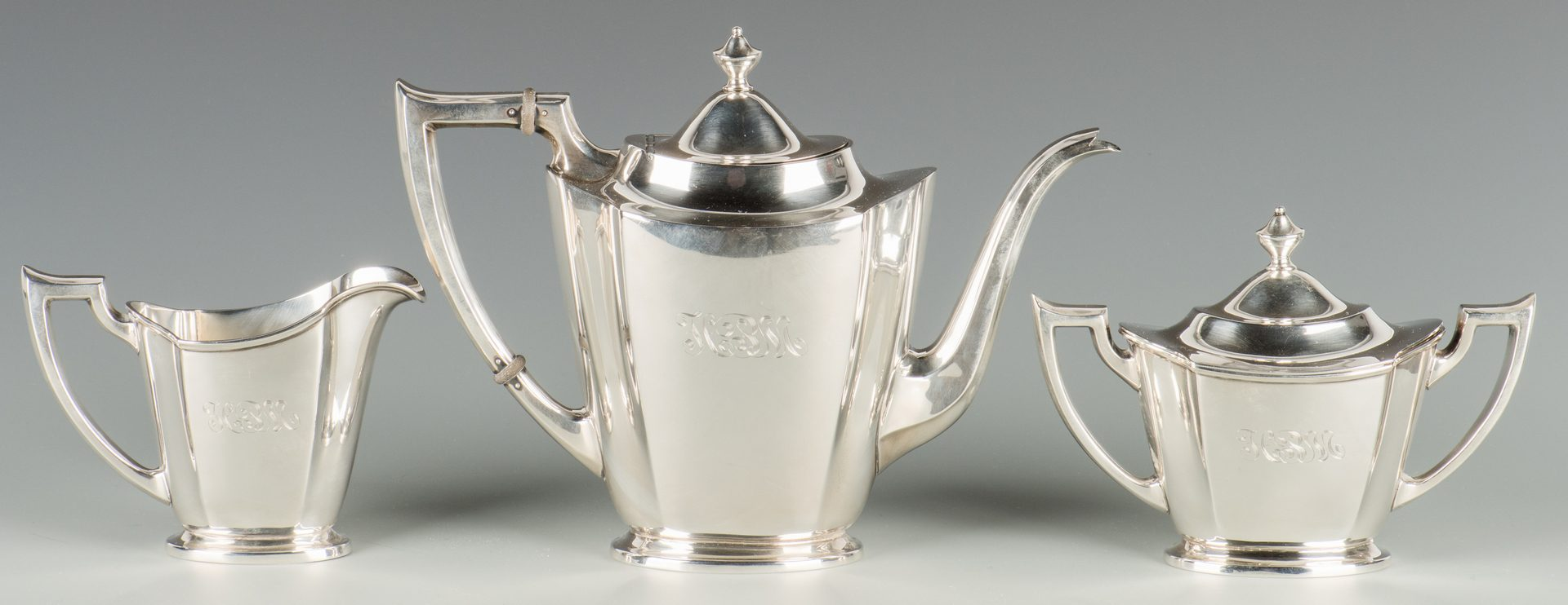 Lot 910: International Sterling Tea Set with silverplate tray