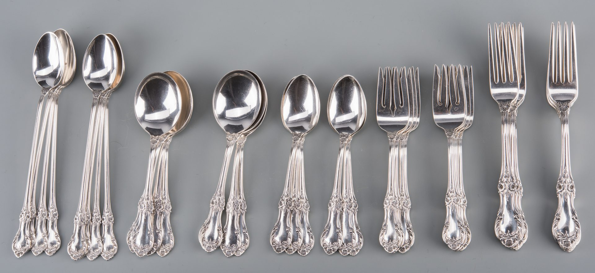 Lot 912: International Wild Rose Sterling Flatware, 48 pcs
