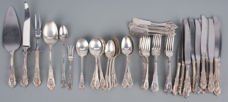 Lot 915: Wallace Sterling Flatware, Rose Point Pattern, 61 pcs