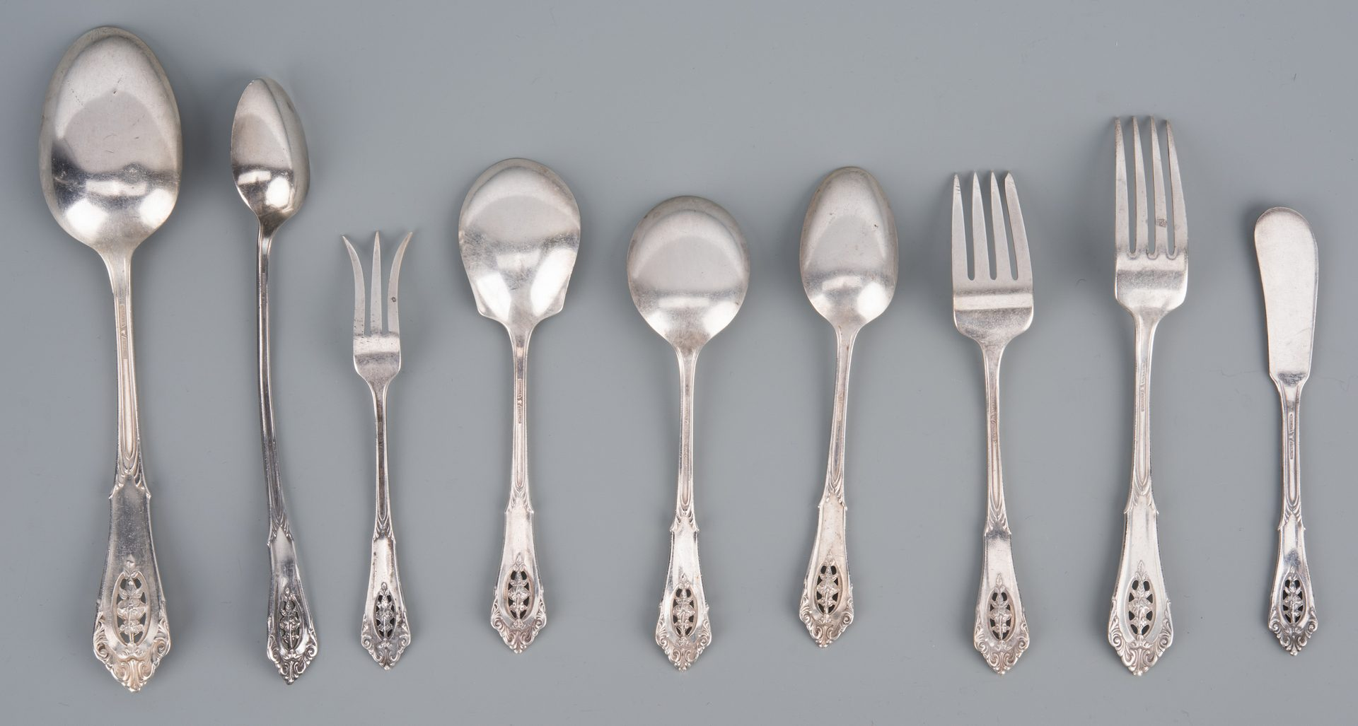 Lot 915 Wallace Sterling Flatware Rose Point Pattern 61 Pcs