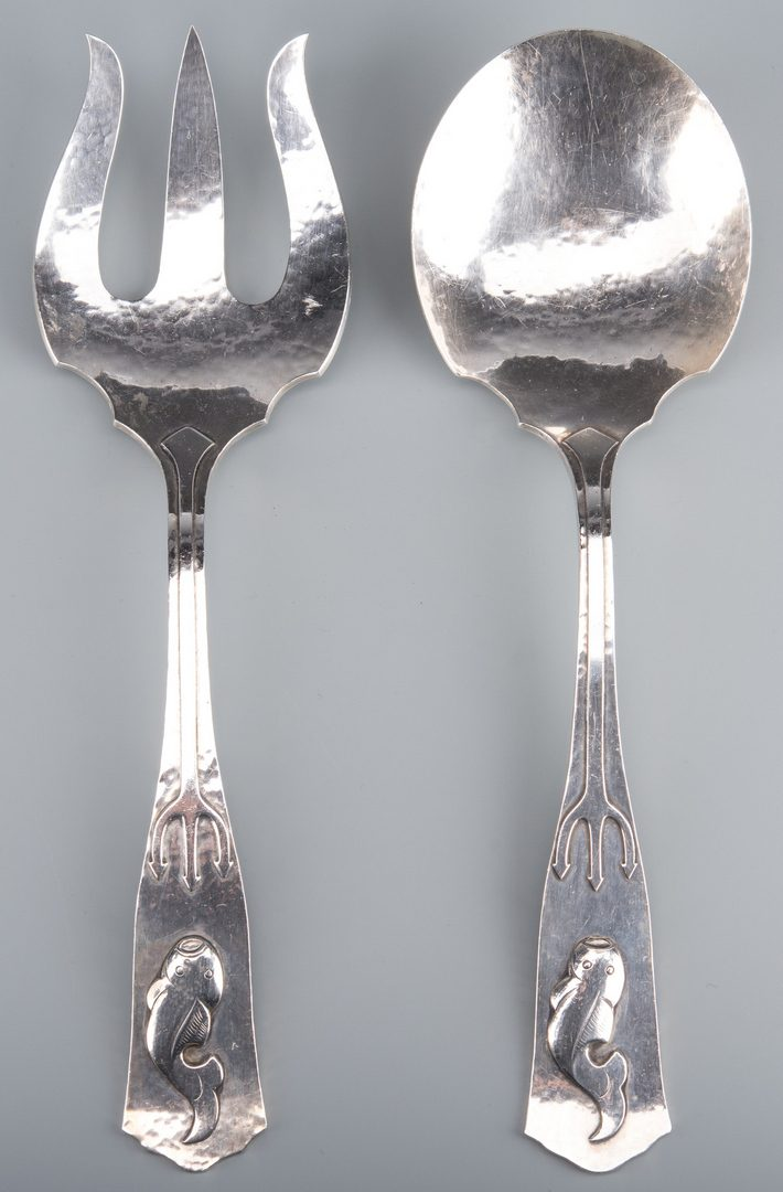 Lot 916: Aesthetic Whiting Sterling Serving Fork and Spoon