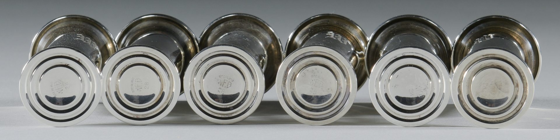 Lot 918: 8 Sterling Cordials & 2 Sterling Tumblers