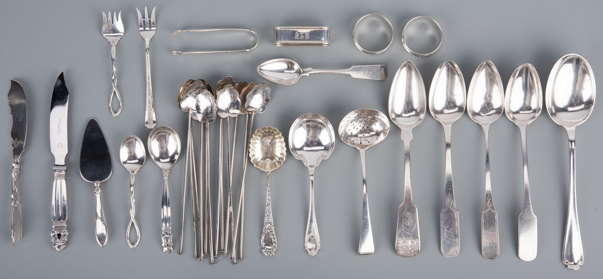 Lot 920: Sterling silver incl Tiffany/Jensen plus NY/NJ coin silver