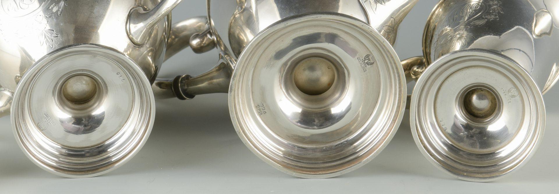 Lot 927: Meriden Sterling Tea Set, 3 pcs.