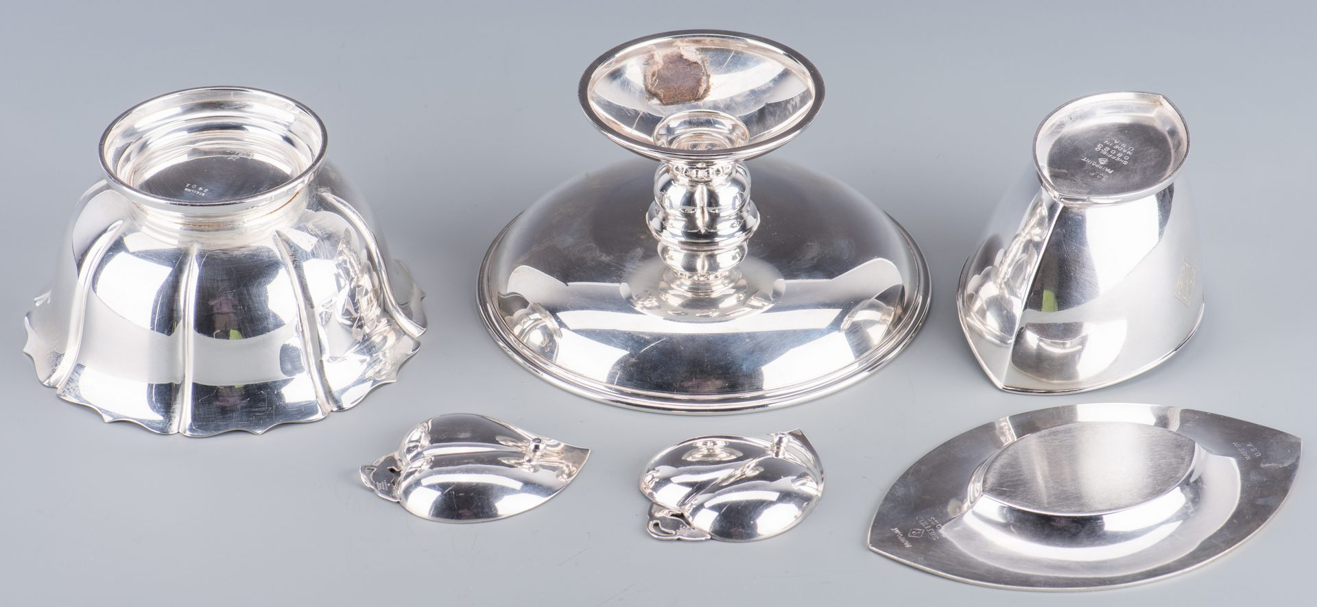 Lot 932: 6 pcs Silver Hollowware inc. Mirror and Tiffany