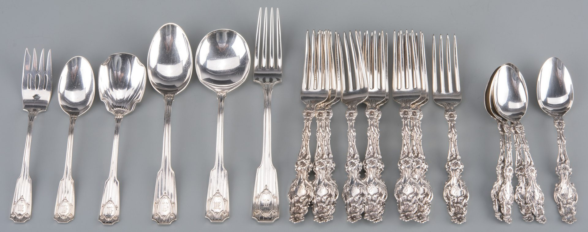 Lot 933: Whiting Lily & Gorham Sterling Flatware, 21 pcs