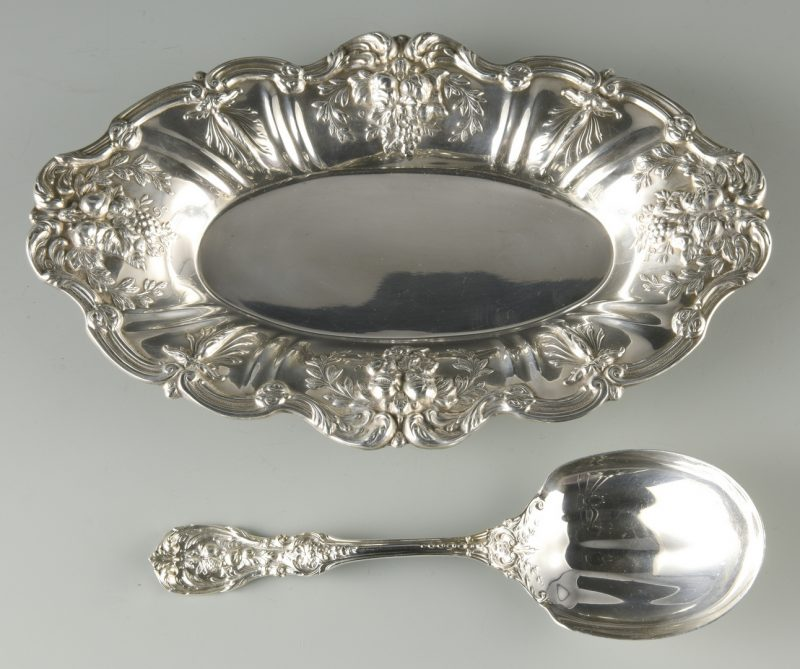 Lot 934: Francis I Sterling Bread Tray and Spoon