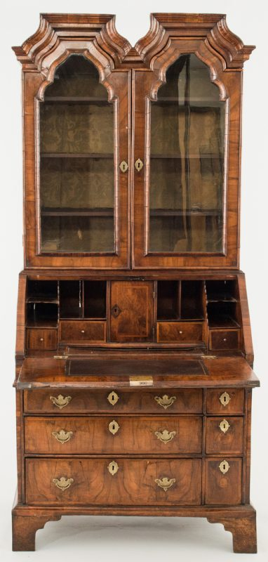 Lot 93: Queen Anne Oyster Walnut Secretary