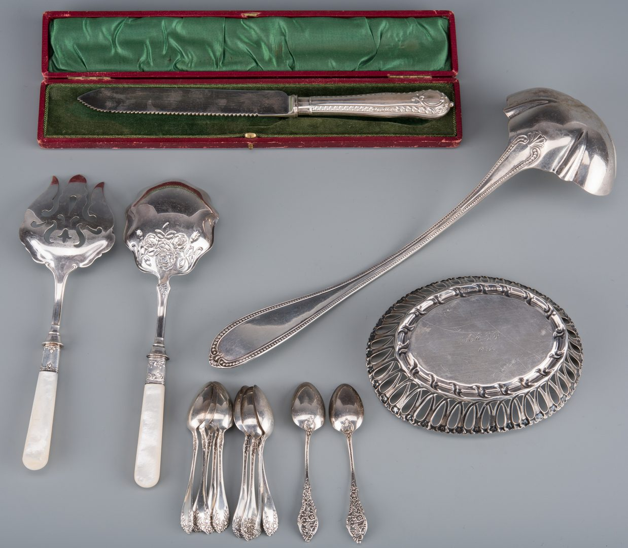 Lot 940: Assd. Sterling, Coin and plated silver inc. Basket