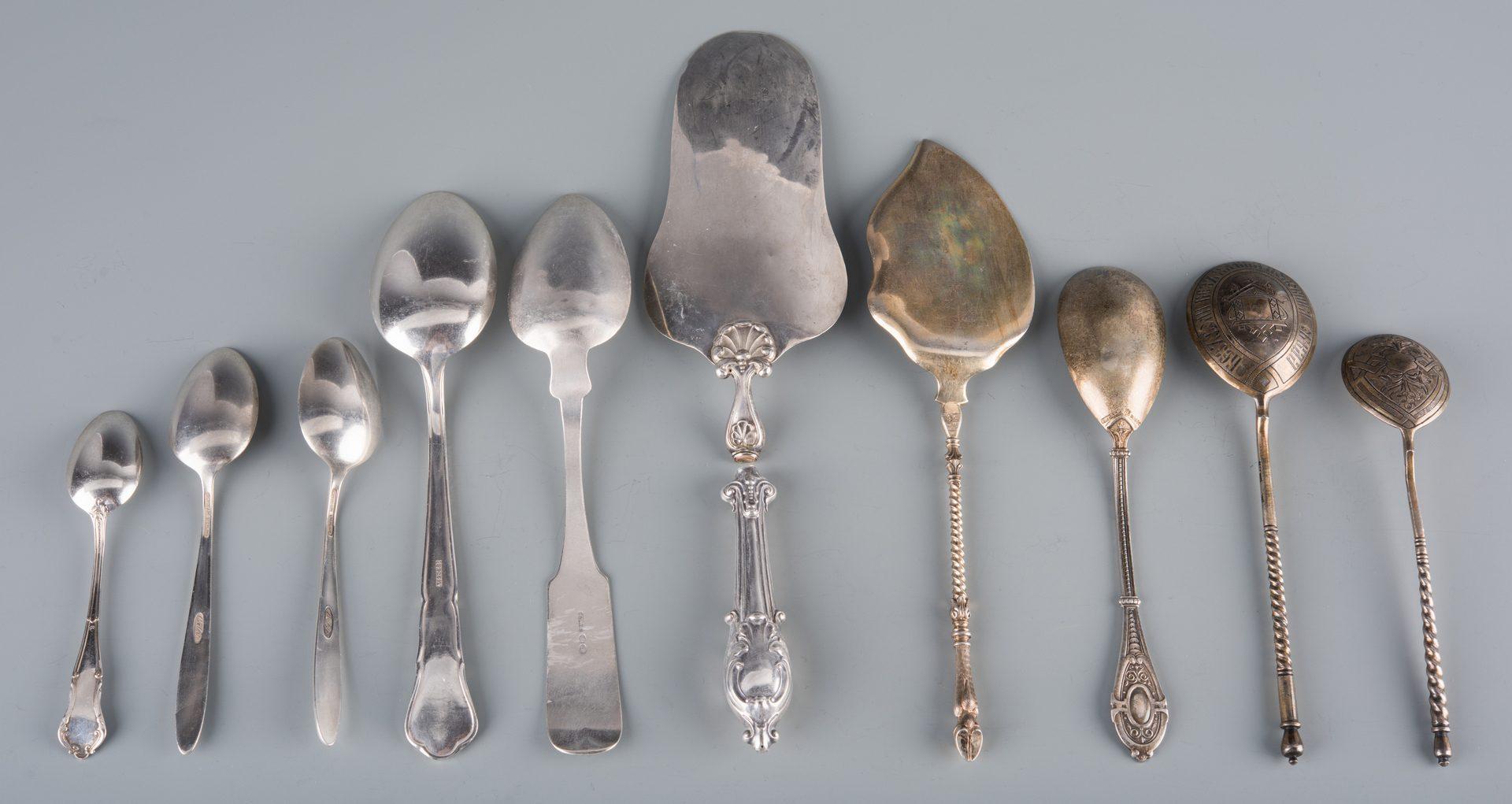 Lot 942: 10 pcs silver flatware inc. Russian