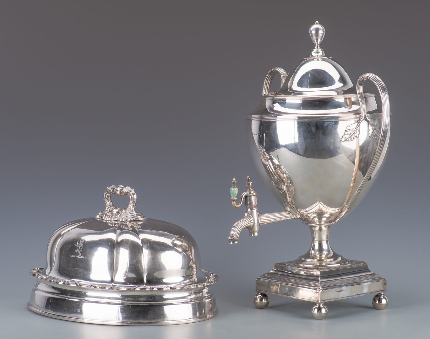 Lot 943: Old Sheffield Plate Tea Urn, Meat Dome