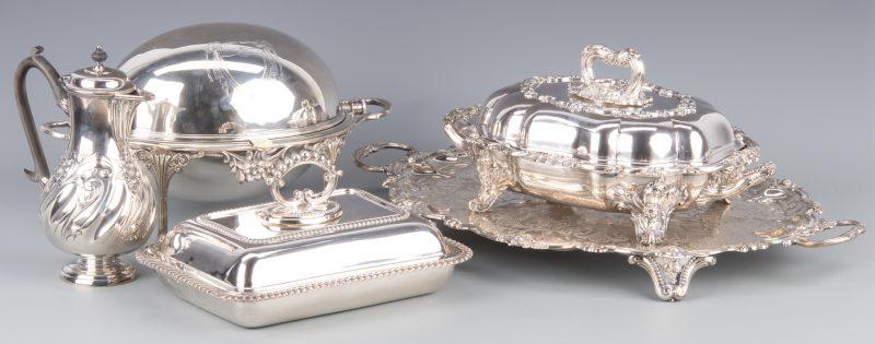 Lot 944: 5 pcs English Silverplated Hollowware