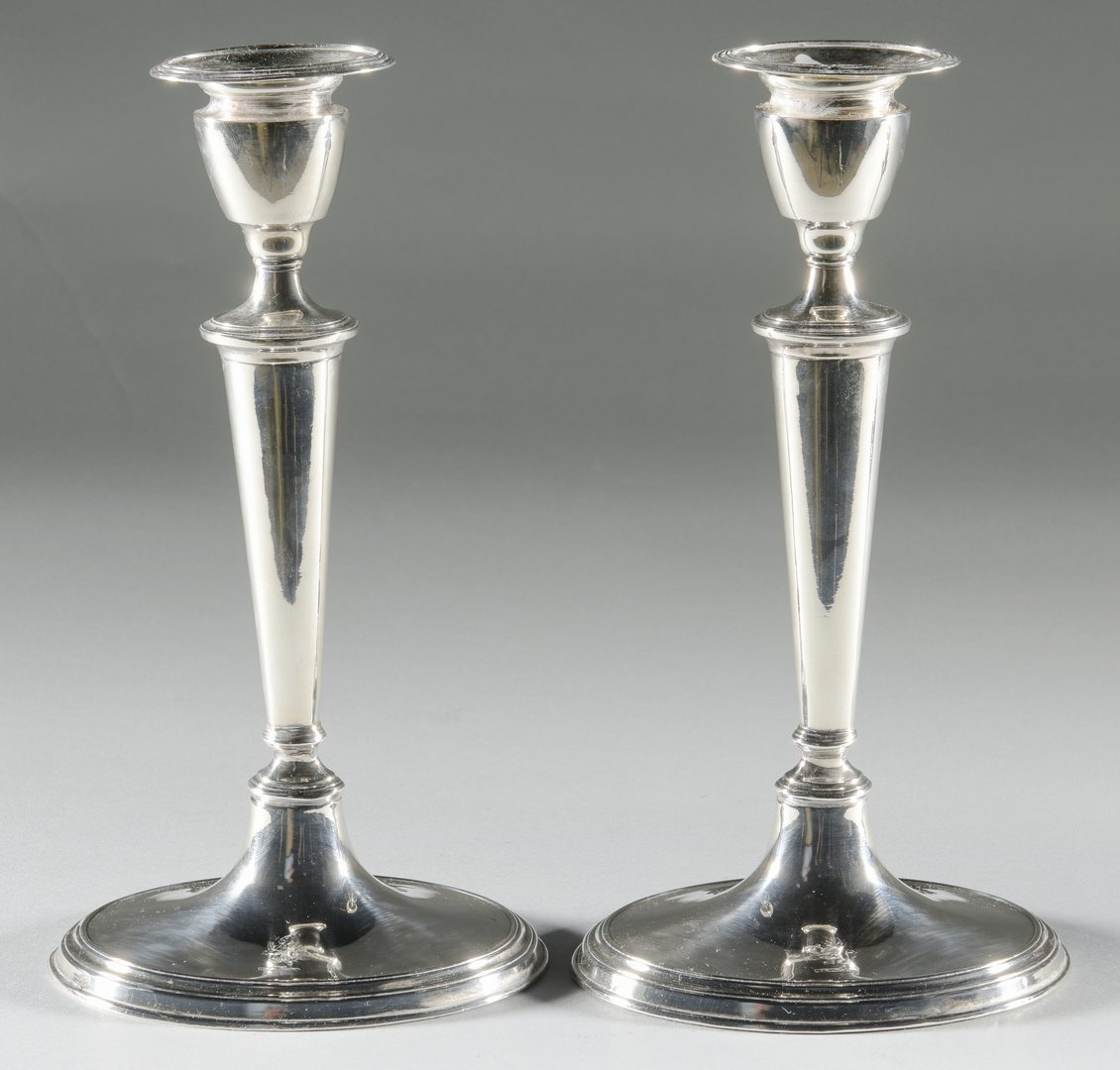 Lot 946: 4 Old Sheffield Plate Candlesticks + 2 Candelabra
