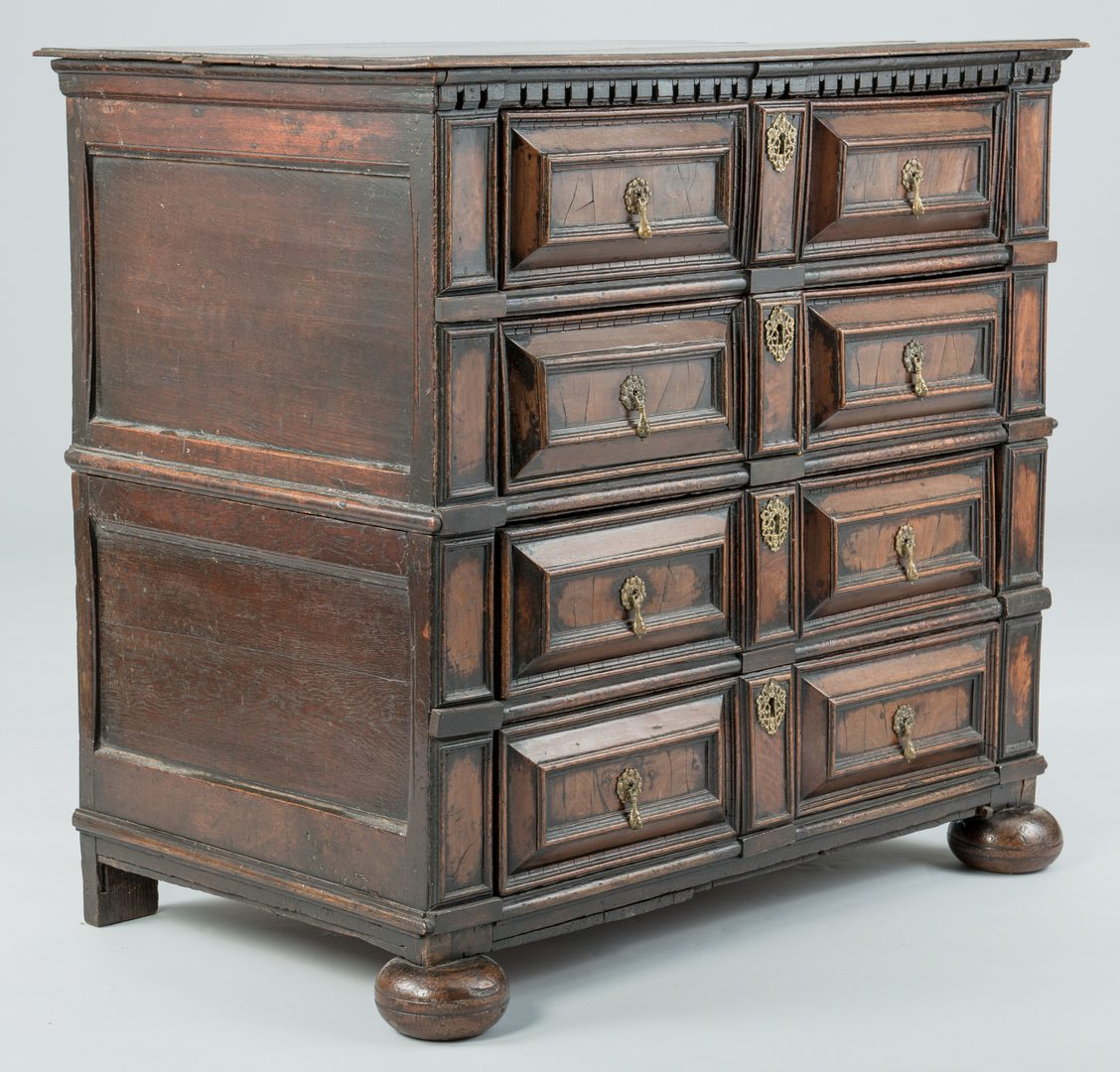 Lot 94: Early Oak Paneled Chest