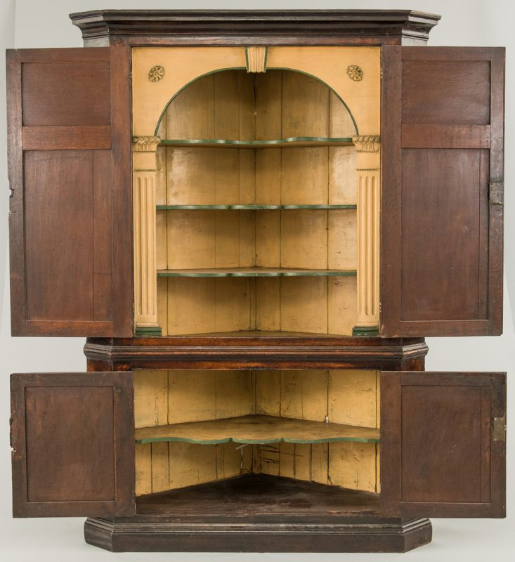 Lot 95: English Oak Corner Cupboard, 18th