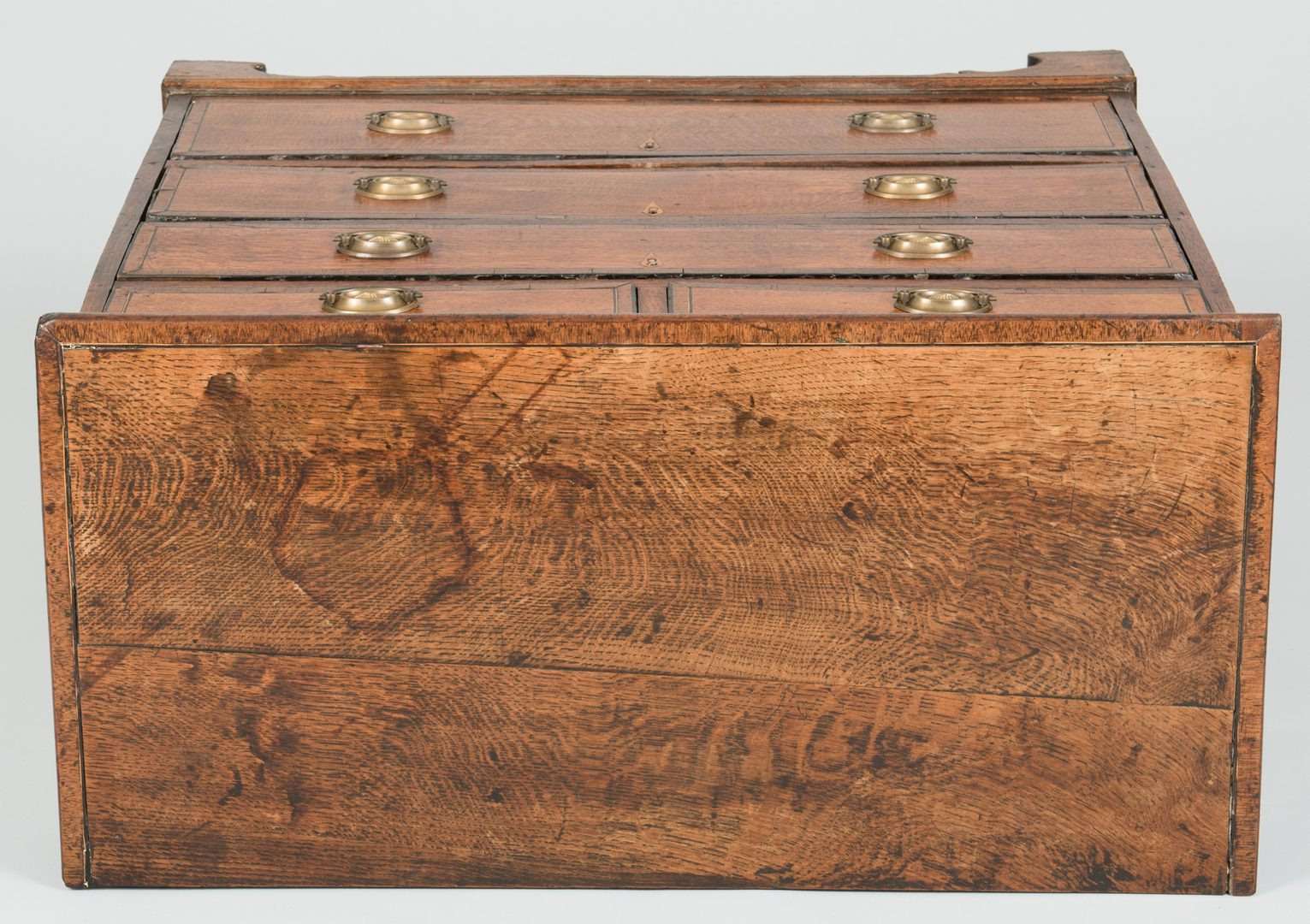 Lot 96: Inlaid Oak Chest of Drawers, 18th c.