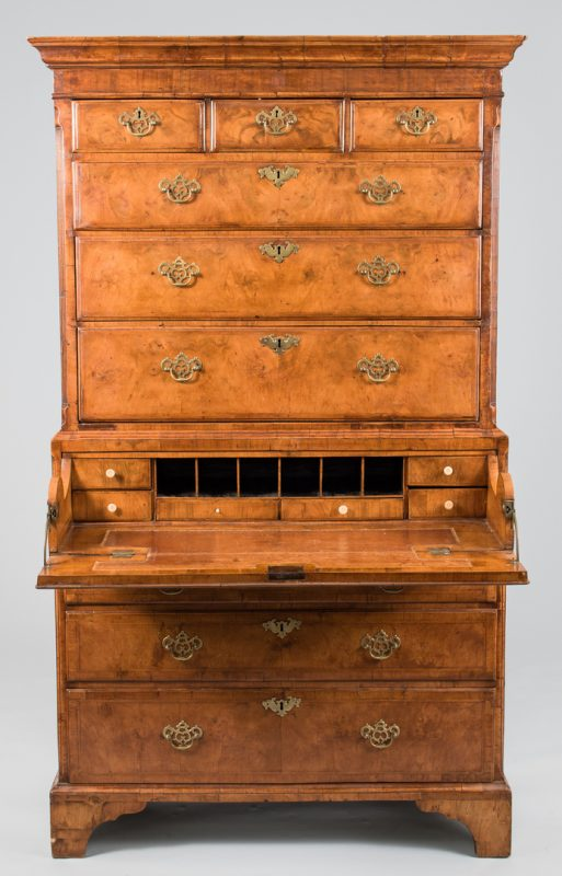 Lot 98: George III Burlwood Chest on Chest