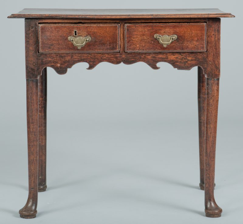 Lot 99: 18th C. Oak Dressing Table or Lowboy
