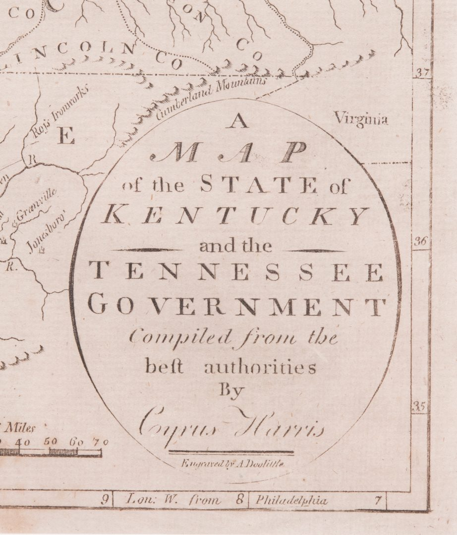 Lot 100: Kentucky and Tennessee Map, 1796 Cyrus Harris