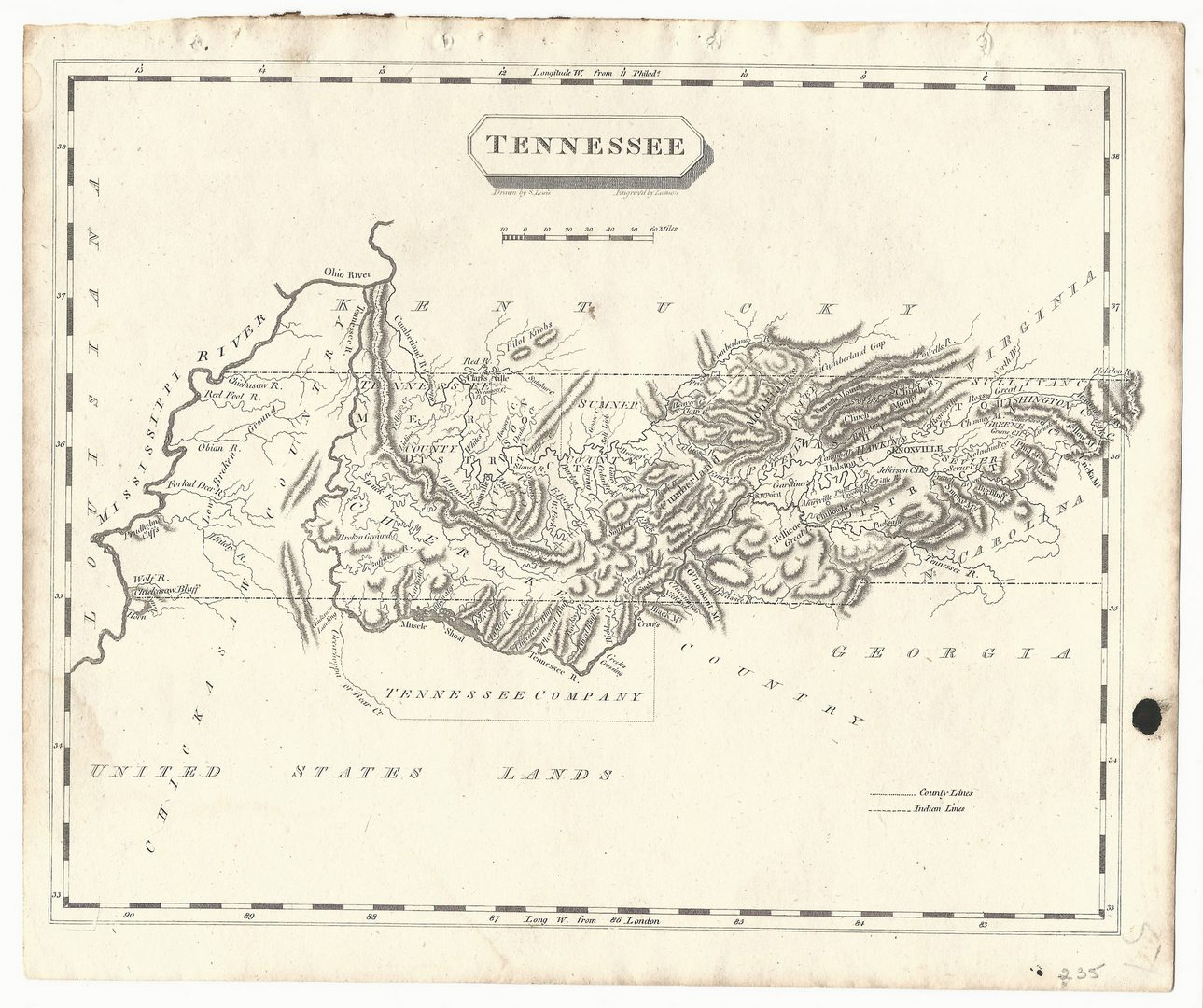 Lot 101: Tennessee Map, Samuel Lewis & Alexander Lawson, 1804