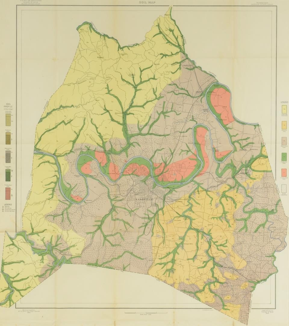 Lot 106: 1903 Geological Map, Davidson County