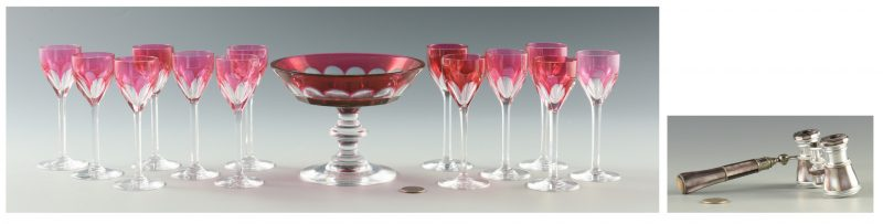 Lot 10: Baccarat & Val St. Lambert Glassware and Opera Glasses, 15 total