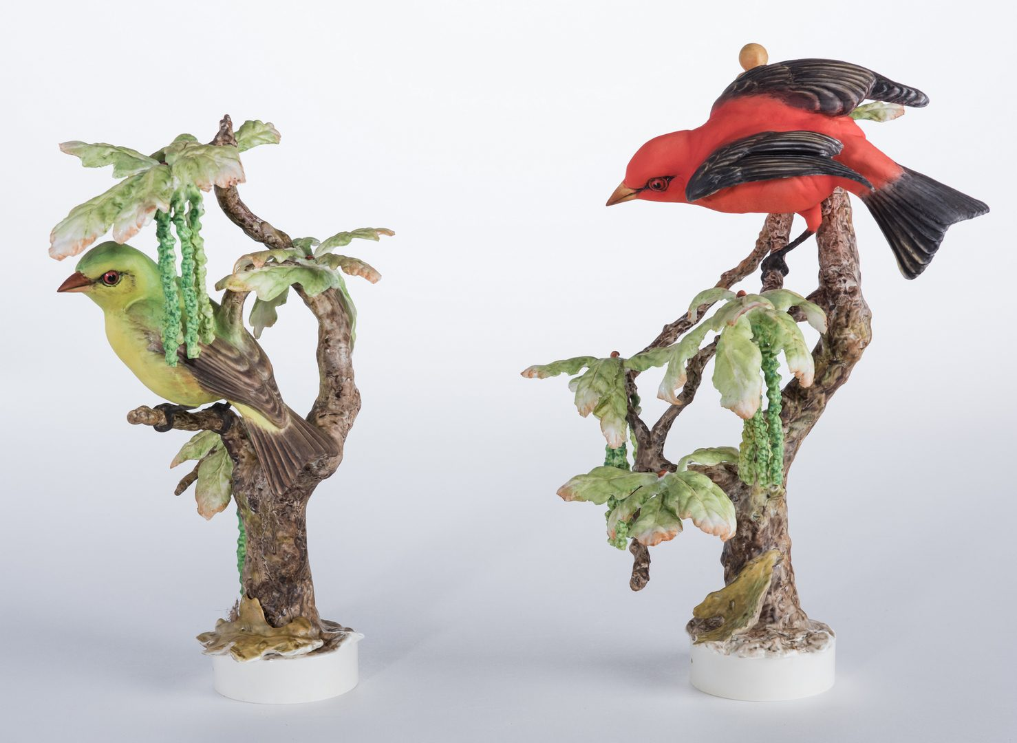 Lot 112: Pair Dorothy Doughty Scarlet Tanagers