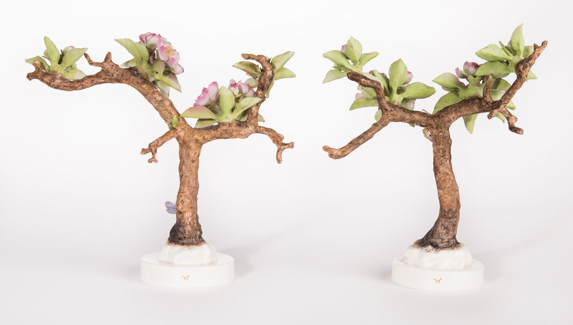 Lot 115: Pair Dorothy Doughty Crabapples and Butterflies and Scissor-Tailed Flycatcher