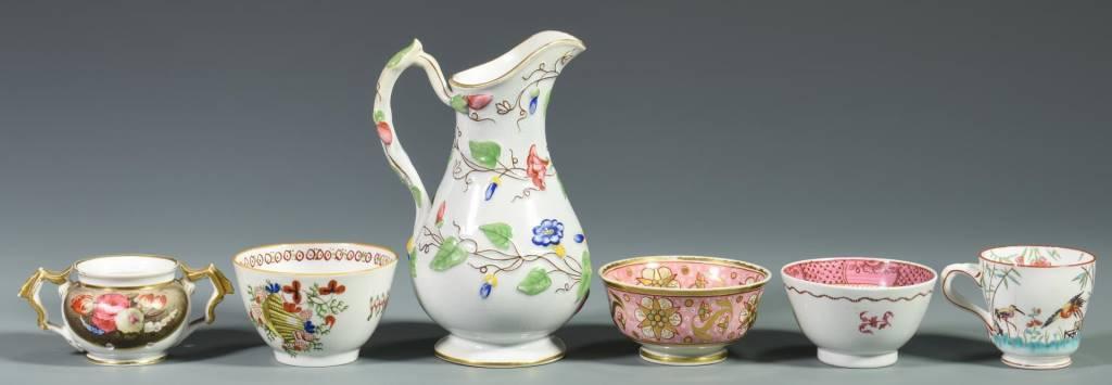 Lot 118: 16 Porcelain tea items, most English