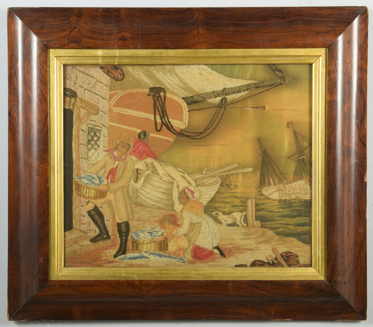 Lot 121: English Marine Embroidery, Seaport Scene
