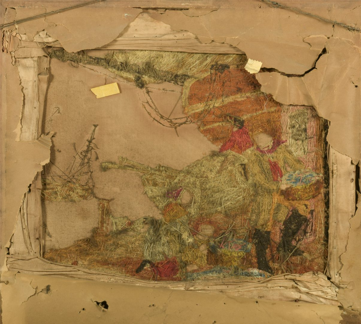 Lot 121: English Marine Embroidery, Seaport Scene
