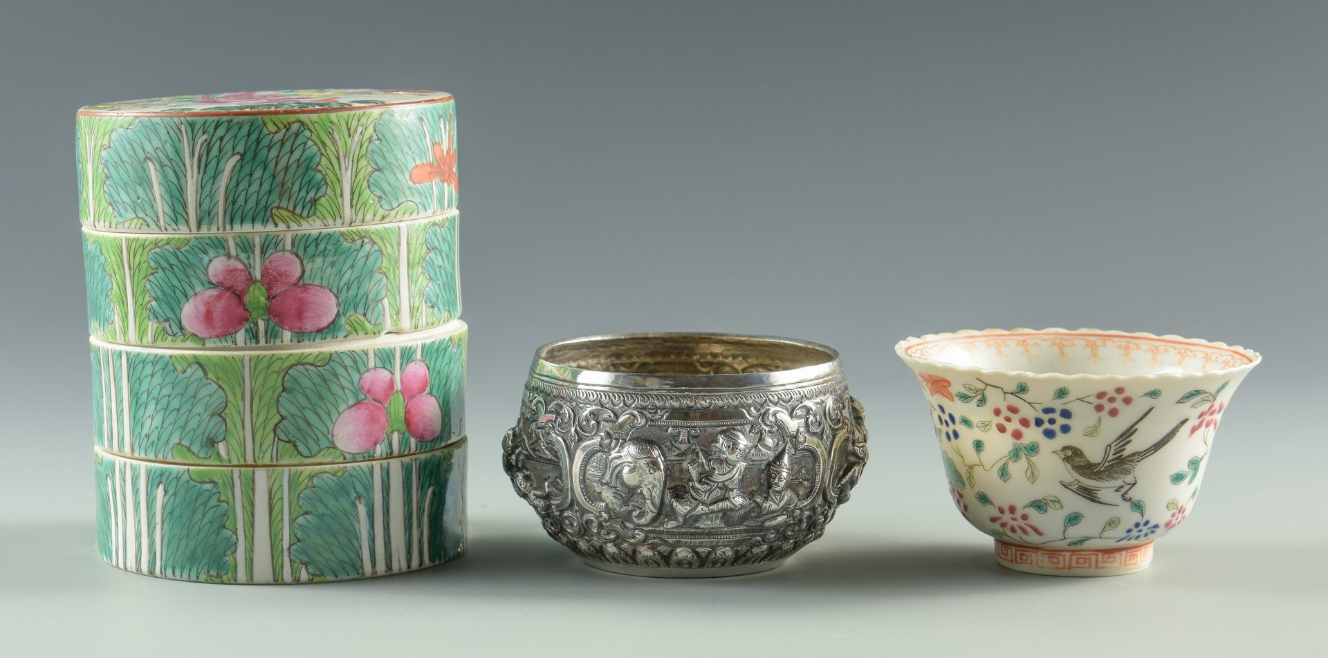 Lot 127: Asian Silver and Porcelain bowls, 3 pcs