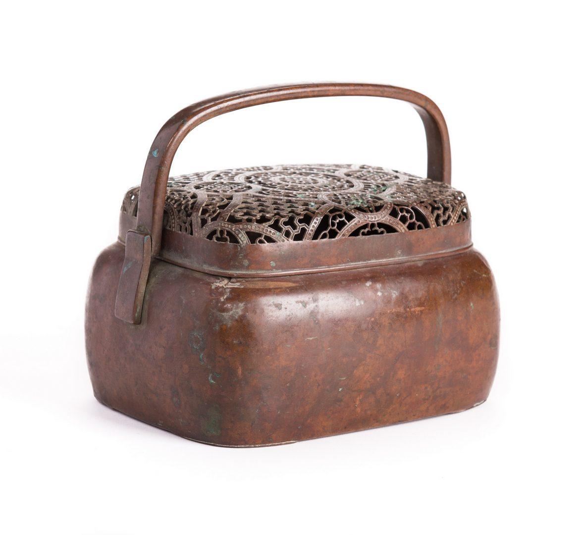 Lot 129: Chinese Bronze Hand Warmer