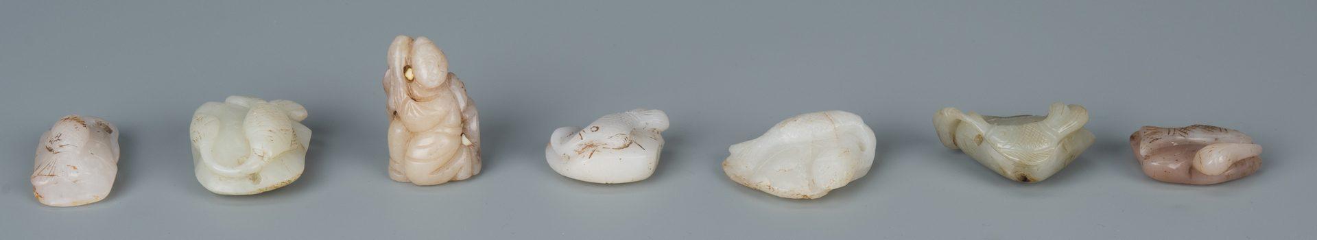 Lot 131: 7 Chinese Jade Toggles, incl. Fish