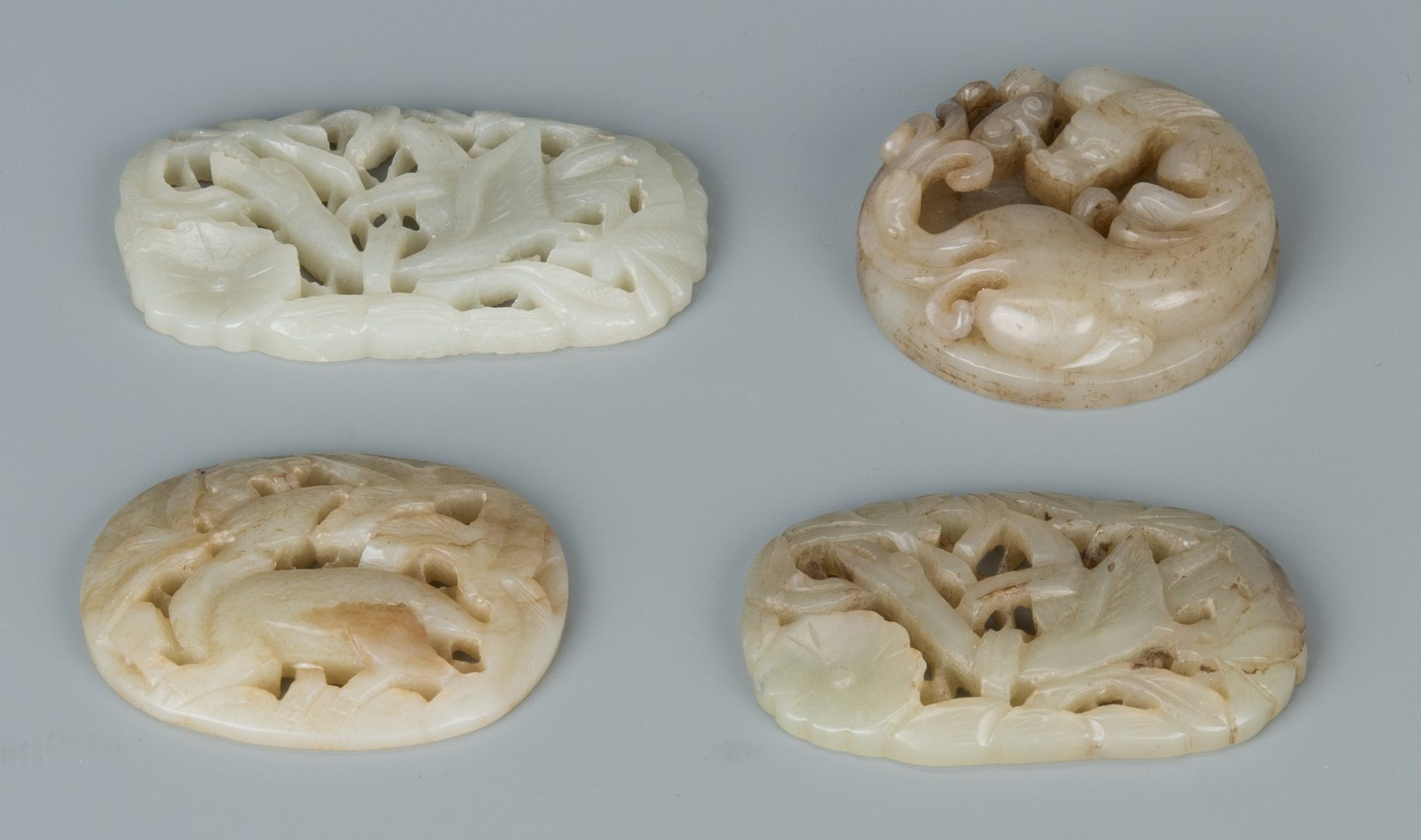 Lot 132: 5 Carved Chinese Celadon Jade Items