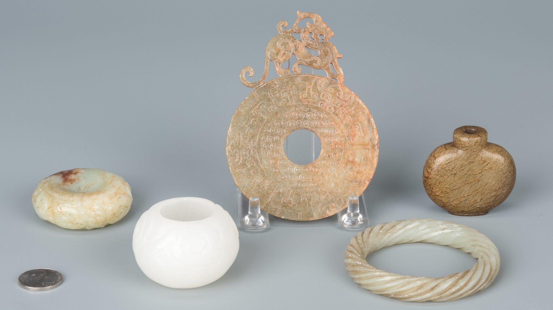 Lot 134: 5 Asst. Chinese Jade & Hardstone Items