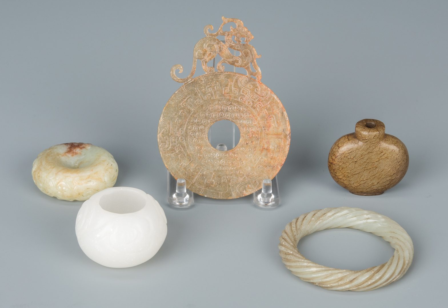 Lot 134: 5 Asst. Chinese Jade & Hardstone Items