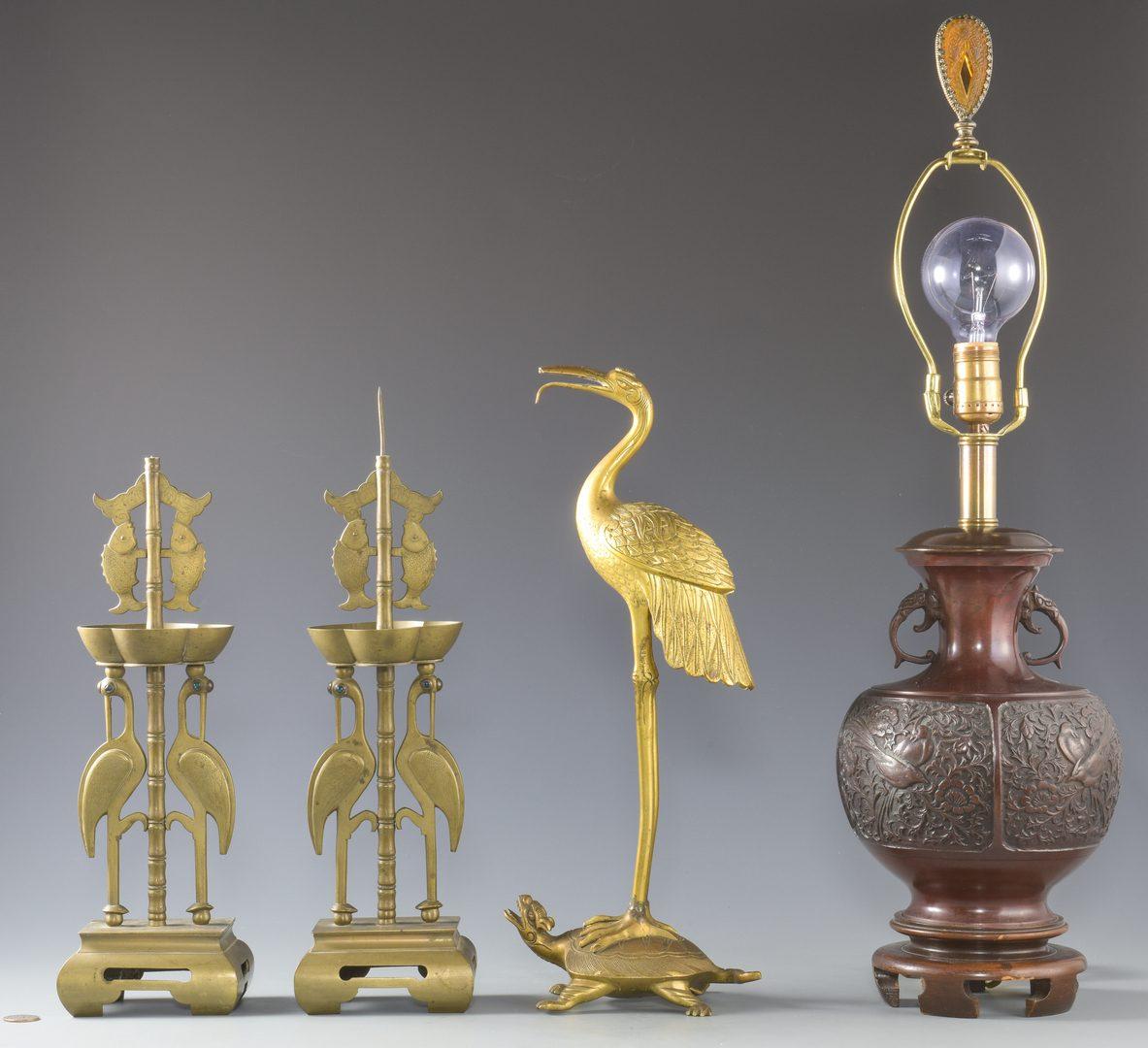 Lot 135: 3 Asian Metal Candlesticks and 1 Lamp
