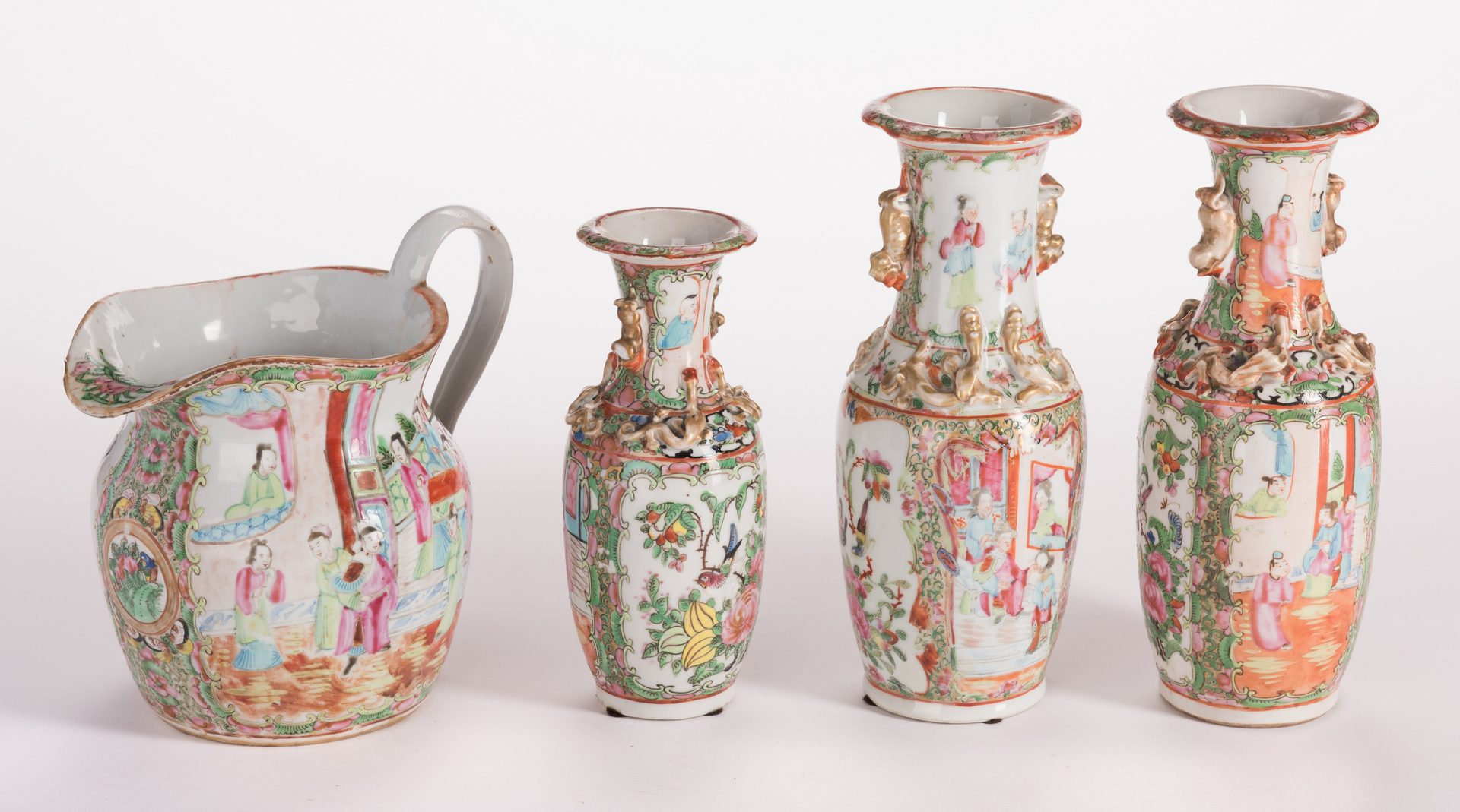 Lot 137: 3 Chinese Rose Medallion Vases & Pitcher, 4 Items Total